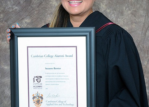 Cambrian College honoured Suzanne Bernier with its prestigious Alumni Award