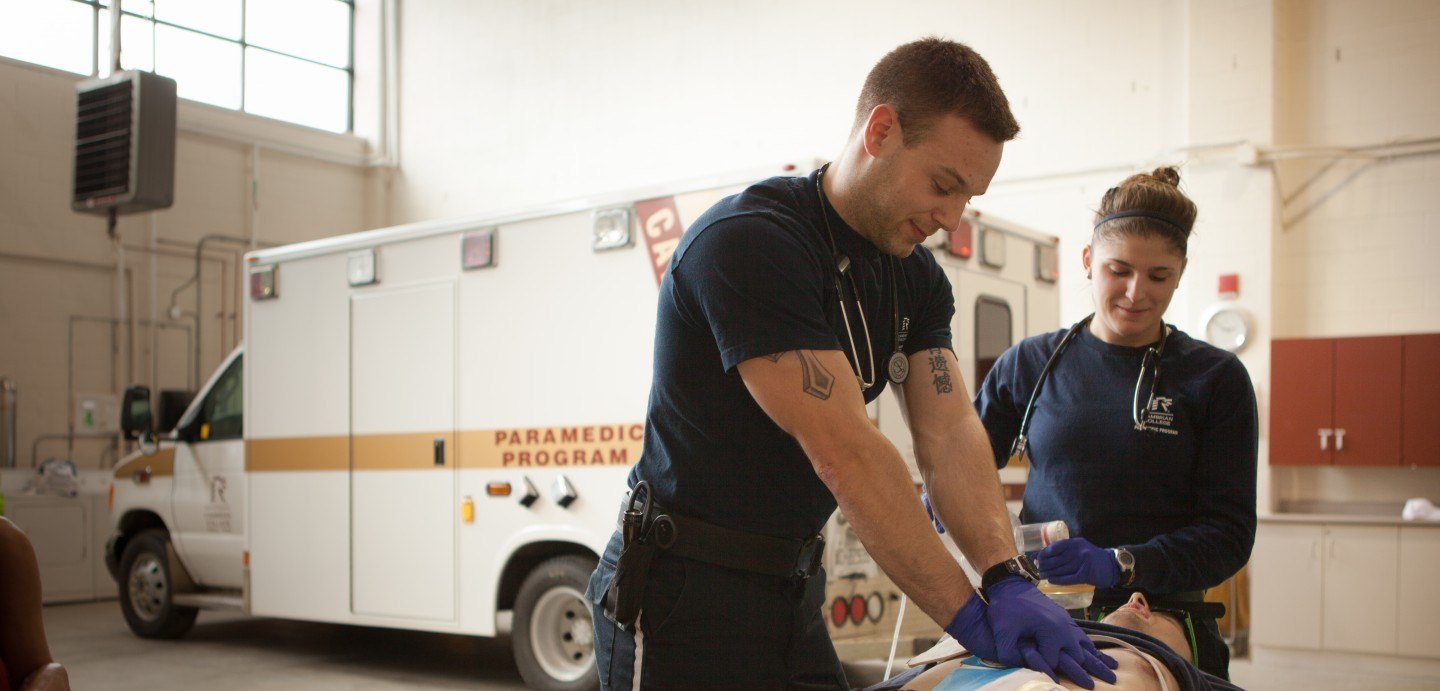 Cambrian College Paramedic students practice their skills.