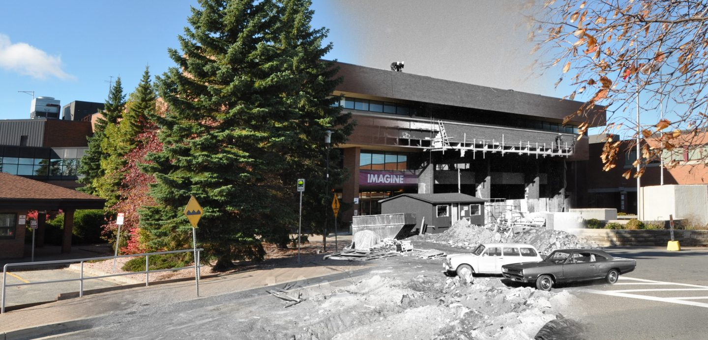 Building a tradition of excellence: Cambrian's main campus in Sudbury continues to be a place of imagination, inspiration and innovation. 2016 photo combined with 1972 photo.