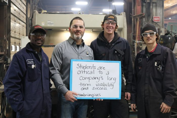 City Welding makes a donation to Cambrian College during Giving Tuesday.